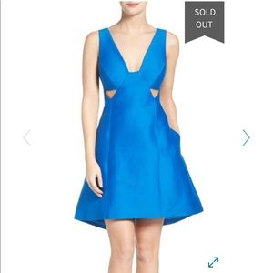 Halston heritage blue cotton &silk dress